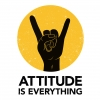 The Attitude is Everything log featuring a hand making the devil horns sign against a yellow circle