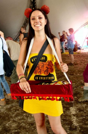 Lisa as an usherette at Club Attitude at Glastonbury